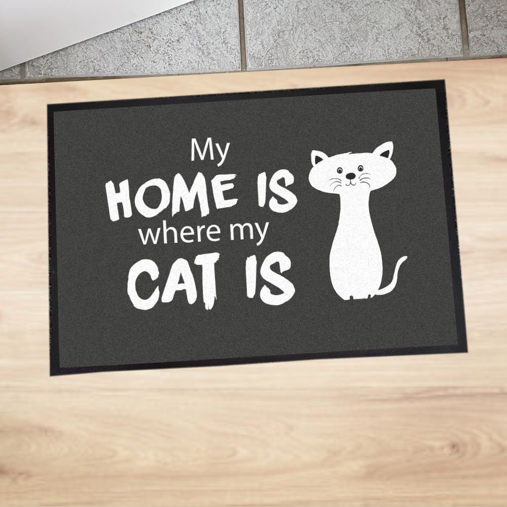 """Fußmatte """"My home is where my cat is"""""""