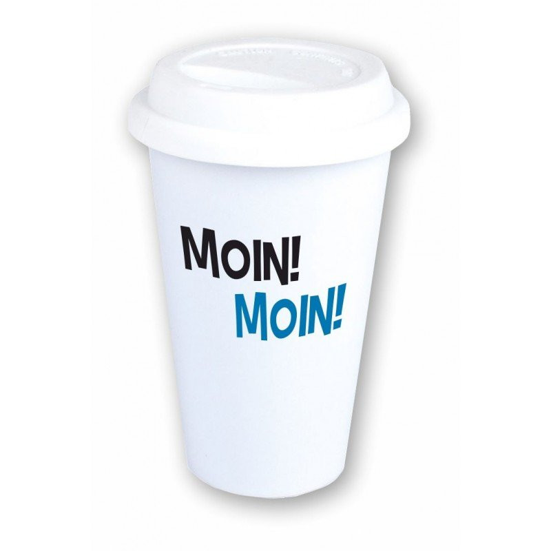 """Coffee-to-Go-Becher mit Motiv """"Moin! Moin!"""""""